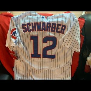 Cubs Schwarber white pinstripe jersey size 54